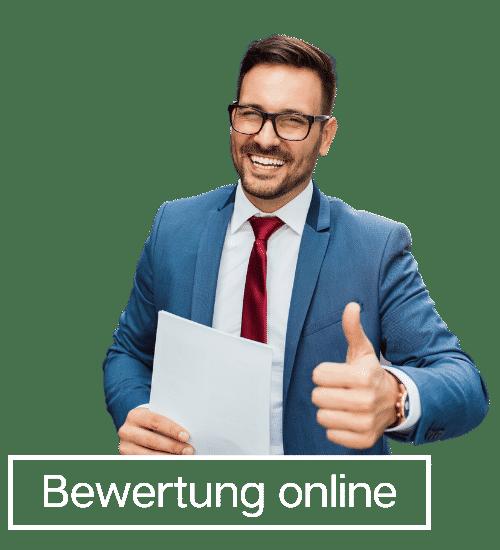 Bewertung online Banner weiß